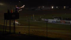 Checkered flag dirt track non wing sprint Stock Footage