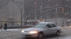 Snow and  Blizzard conditions with Pedestrians and Traffic on Madison Avenue Stock Footage
