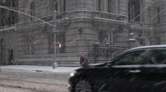 Traffic on Madison Avenue in New York City Blizzard Stock Footage