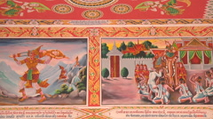 Paintings on the monastery walls in Vientiane, Laos Stock Footage