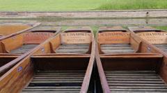 Punting Boats on River Cam, Cambridge, Cambridgeshire, England, UK, Europe - stock footage