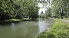 Boats on River Cam, Cambridge, Cambridgeshire, England, UK, Europe Stock Footage