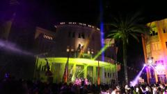 A party on the walls of Tel Aviv Israel old city hall Stock Footage