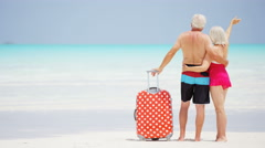 Retired vacation couple in swimwear on a tropical beach with travel luggage - stock footage