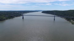Aerial MidHudson Bridge 2 Stock Footage