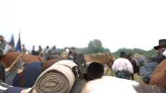 Blanket on Horse's back, other horses, to horse head and soldiers, Slo mo Stock Footage