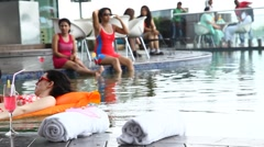 Female in the Swimming pool Stock Footage