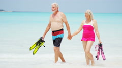 Caucasian seniors in swimwear on a beach with snorkels Stock Footage