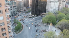Looking Down at Columbus Circle and Trump Tower from Central Park South Stock Footage
