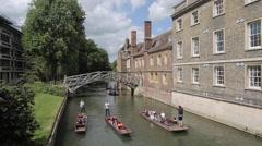 Mathematical Bridge & River Cam, Cambridge, Cambridgeshire, England, UK, Europe - stock footage