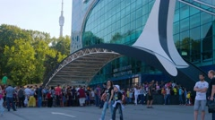 People stand in huge queue to Aquarium in All Union Exhibition Center, Moscow Stock Footage