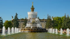 People walking by fountains in All Union Exhibition Center, Moscow Stock Footage