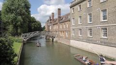 Mathematical Bridge & River Cam, Cambridge, Cambridgeshire, England, UK, Europe Stock Footage