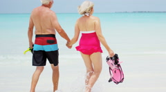 Retired couple in swimwear on a tropical beach with snorkel equipment Stock Footage