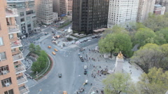 Columbus Circle High Angle looking Down at Traffic and Pedestrians Stock Footage