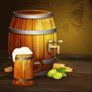 Beer oak mug barrel background banner Stock Illustration