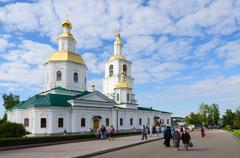 Pilgrims go near Kazan Cathedral in Holy Trinity Seraphim-Diveevo convent - stock photo