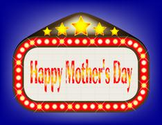 Happy Mothers Day  Movie Theatre Marquee Stock Illustration