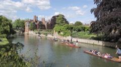 Punting in River Cam, Cambridge, Cambridgeshire, England, UK, Europe Stock Footage