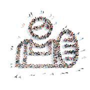 group  people shape  man isolated - stock illustration