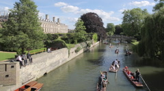 Punting in River Cam, Cambridge, Cambridgeshire, England, UK, Europe Stock Footage