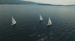 Sail Boats Lake George Stock Footage