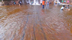 'Tham Phra' Waterfall, People are playing waterfall - stock footage
