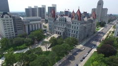 Aerial Albany Ny Capital and Plaza Stock Footage