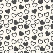 Heart shape  seamless pattern. Black and white colors - stock illustration