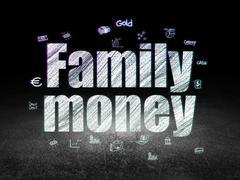 Banking concept: Family Money in grunge dark room - stock illustration