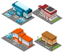 Supermarket stores buildings isometric icons set - stock illustration