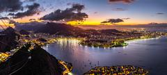 Panoramic view of Rio de Janeiro by night Stock Photos