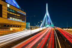 Rush hour traffic on Zakim Bunker Hill bridge in Boston Stock Photos
