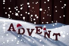 Advent Mean Christmas Time Snowflakes Santa Hat - stock photo