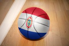 basketball ball with the national flag of paraguay - stock photo