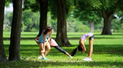 Young active multi ethnic girls doing fitness routine in park Stock Footage