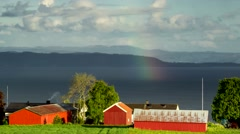 Norway - June 2015. Rainbow on Trondheim Fjord. 4K time lapse footage. Stock Footage