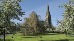 Edensor Village Church & Blossom, Chatsworth Estate, Derbyshire, England, UK, Stock Footage