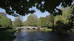 Ashford in the Water, Sheepwash Bridge, Derbyshire, England, UK, Europe Stock Footage