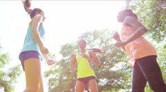 Stock Video Footage of Young slim multi ethnic girls working out outdoor