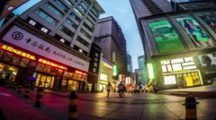 The customers wander at pedestrians street in Dalian, China. Stock Footage