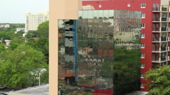 Miami reflective window building Stock Footage