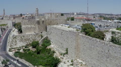 aerial view of the old city walls of Jerusalem - stock footage