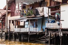 Asian slum in thailand - stock photo