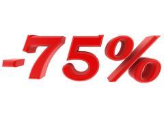 3d image 75 percent off digits - stock illustration