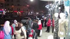 Egypt 2011 - Cairo street at night 02 Stock Footage