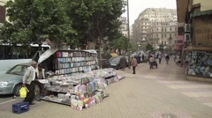 Egypt 2011 - magazine vendor on Cairo street corner Stock Footage