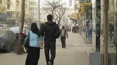 Egypt 2011 - pedestrians walk on Cairo street 02 Stock Footage
