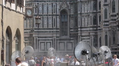 Fans & Duomo, Piazza del Duomo, Florence, Tuscany, Italy, Europe Stock Footage