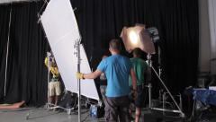 Stock Video Footage of Employees of the Studio work with the lighting on set